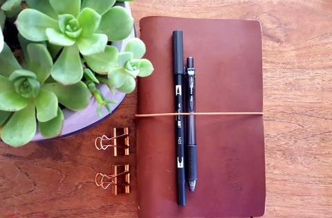 image of leather journals brown