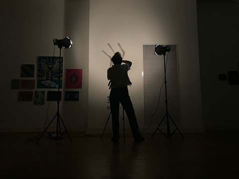 Image of someone photographing in the gallery