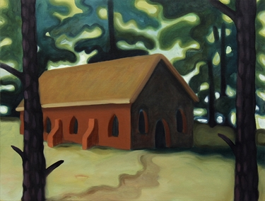 Max Berry - Red Building in Woods, 52x40