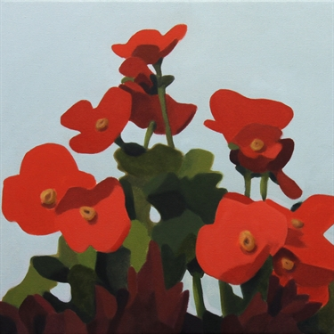 Max Berry - Red Flowers, 46x46